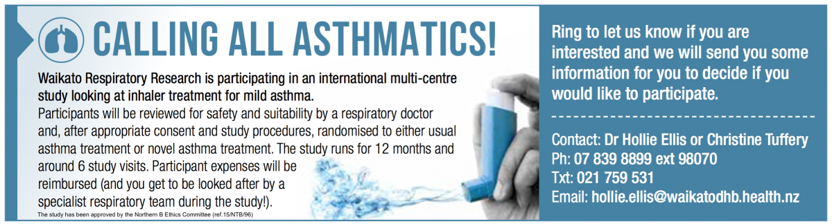mild asthmatics required for a research study